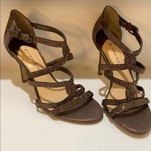 Gianni Bini Shoes - Gianni Bini Brown Sparkle Strappy Heel